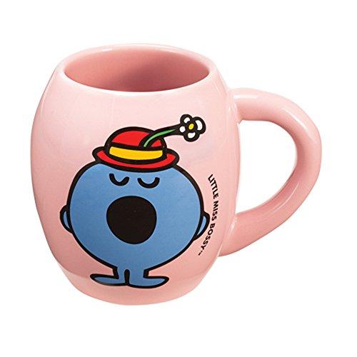 Vandor 44361 Mr. Men Little Miss-Little Miss Bossy 18 Oz Oval Ceramic Mug, Pink And Blue