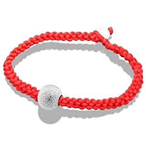 Platinum Plated 925 Sterling Silver Matte Bead Red Rope Cuff Bangle Bracelet 7