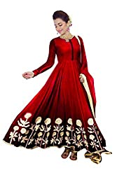Clickedia Women's Faux Dark Red Georgette Anarkali Salwar Suit Dress Material