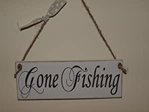 Gone Fishing Vintage Wooden sign: Amazon.co.uk: Kitchen & Home