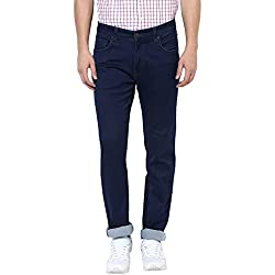 Turtle Men's Blue Low Rise Slim Fit Denims With Stretch