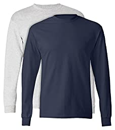 Hanes, 5586, Men\'s, Tagless Long Sleeve Tee, 1 Ash + 1 Navy, Large