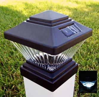 Solar 4 X 4 Square Led Pvc Vinyl Fence Post Cap Light Black Matte Plastic (Default)