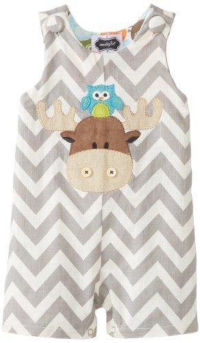 Mud Pie Baby-Boys Newborn Moose Shortall, Brown, 0-6 Months front-1072411