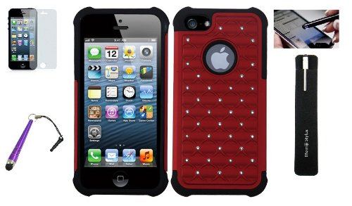Iphone 5/5S Red Studded Diamond Dual Layer Protective Case, With Screen Protector, Baseball Stylus Momiji® Stylus Pen