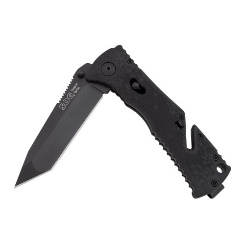 SOG Specialty Knives & Tools TF-7 Trident Tanto, Black TiNi