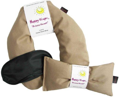 Happy Wraps® Herbal Neck Wrap W/Free Lavender Eye Pillow & Free Sleep Mask - Microwave Or Freeze - Tan Cotton