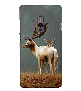 Chiraiyaa Designer Printed Premium Back Cover Case for OnePlus Two 1+2 (deer baby nature jungle) (Multicolor)