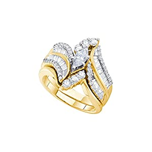 14kt Yellow Gold Womens Natural Diamond Marquise Bridal Wedding Engagement Ring Band Set (1.50 cttw.)