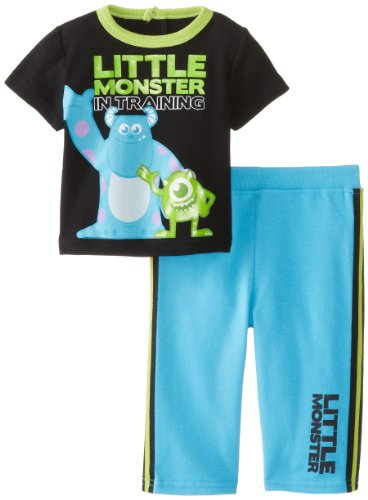 Disney Baby Baby-Boys Newborn Monsters 2Pc French Terry Pant Set, Blue/Black Multi, 6-9 Months front-568590