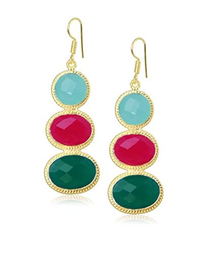 Saachi Fuschia Trio Gold Faceted Vintage Drop Earrings