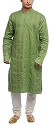 Libas Designs Men's Linen Kurta (LIBKUR011, Green, 42)