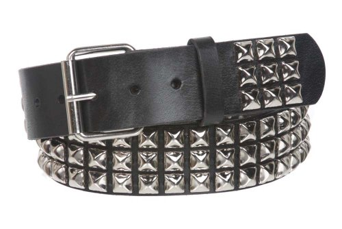 """Snap On Three Row Punk Rock Star Metal Silver Studded Leather Belt Color: Black Size: 38"""""""