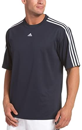 adidas Men's 3 Stripe Short-Sleeve Top, Dark Navy/White, X-Large/Tall