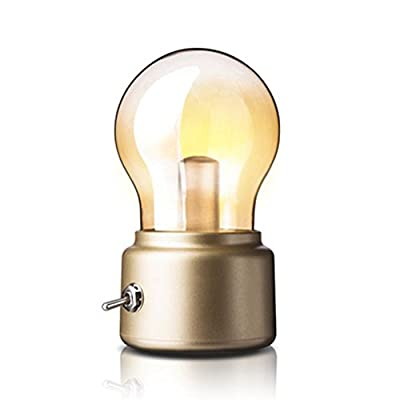 Creative Retro Bulb Lamp by Adooo - Rechargeable Wireless LED Night Light USB Charging Lamp 3 Watts Bedside Lamp Decor,Warm Light