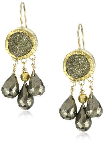 Nava Zahavi Embrace Round Pyrite and High Karat Gold Earrings