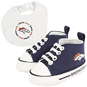 Brand New Denver Broncos NFL Infant Bib and Shoe Gift Set by Things for You