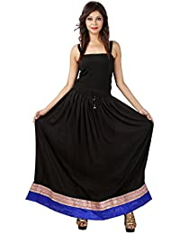 Jaipur Skirt Women's Regular Fit Rayon And Crepe Skirt (Black, XXL)