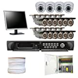 "Complete High End 16 Channel Real Time (2TB HD) H.264 HDMI DVR Security Camera CCTV Surveillance System Package with (12) 700TVL EXview HAD CCD II 2.8-12mm Varifocal Lens Outdoor Cameras & (4) 700 TVL Sony CCD 2.8-10mm Manual Zoom Lens Indoor Cameras + (1) 19"" Security Monitor and 1000ft RG59 Siamese Video/Power Combo Cable"