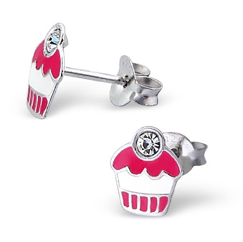 Sterling Silver Children's Pink Cupcake Earrings with Cz Stones