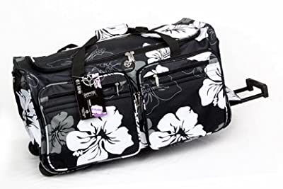 "Ladies 26"" Wheeled Grey Flower Holdall Weekend Bag, Maternity Bag, Hospital B... from Holdall"