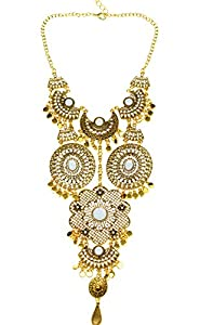 Btime Black Friday Lady Fashion Retro Hollow Flower-Shaped and Circular Resin Inlaid Pendant Necklace(gold)