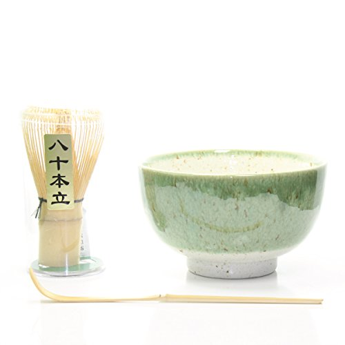 Fantastic Deal! Matcha Tea Ceremony Gift Set with Chasen Whisk & Scoop (3, Green)