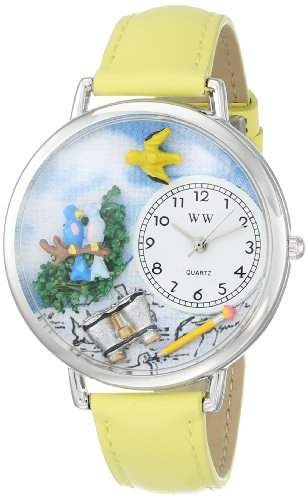 Whimsical Watches Unisex U0150014 Bird Watching Yellow Leather Watch
