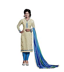 Adorn Mania Off white Chanderi Embroidered salwar Suits Dress Material