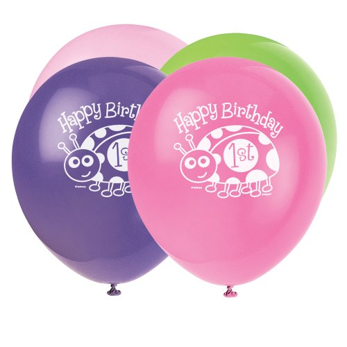 "12"" Latex Ladybug First Birthday Balloons, 8ct"