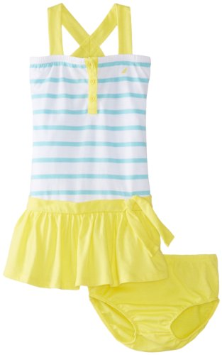 Nautica Baby-Girls Infant Jumper Contrast Dress, Yellow, 12 Months front-111096