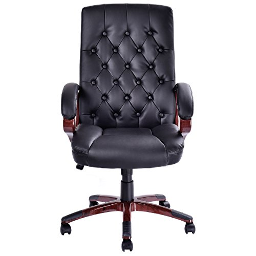 Giantex Ergonomic High Back Traditional Tufted Swivel Office Executive Chair, Black 1