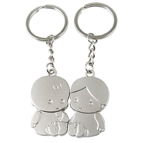 A Pair Of Lovely Kids Pendant Silver Tone Alloy Keyring front-553236