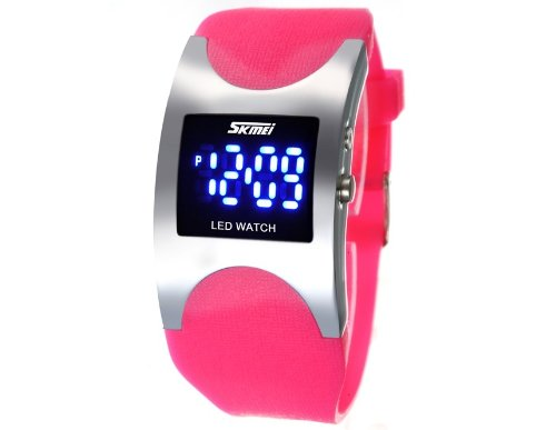 Skmei 0951 3Atm Water Resistant Led Digital Display Alloy Case Silicone Band Arced Dial Sport Electronic Wrist Watch(Pink)