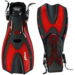 Two Bare Feet Diving Fins Flippers - Snorkelling Scuba Dive (UK9 - 13, Red)