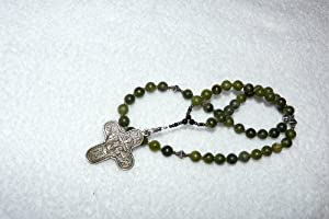 Orthodox chotki, Komboskini, prayer beads,catholic rosary, chaplet- 50 Semi Precious Green Jasper Stone Beads with Bronze and Silver Accents~Lifetime Warranty