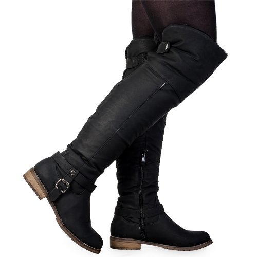 73R New Womens Black Over The Knee Ladies Fleece Fold Down Winter Boots Size 5 US