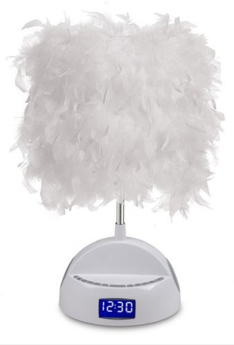Lightunes White Bluetooth Speaker Lamp With Alarm Clock, Fm Radio, Usb Charging Port, And Feather Shade