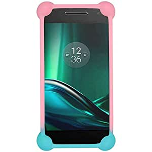 Casotec Universal Silicone Bumper Frame Soft Gel Phone Case Cover for Motorola Moto E3 Power - Multicolor
