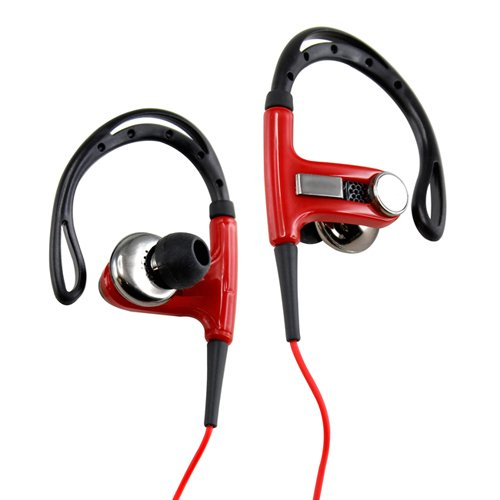 Gearonic Av-5031Rpuib Sports Hook Running Earphones High Quality Stereo Earphones Headset For Iphones, Pc, Mp3, Mp4 And Ipod - Non-Retail Packaging - Red