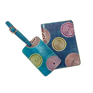 Fair Trade Cruelty Free Leather Luggae Tag & Passport Cover - Circles