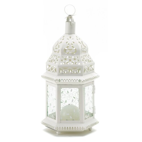 B009LGCQ56 Gifts & Decor Moroccan Lantern Ornate Metal Glass Candle Holder, White