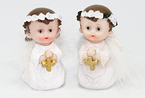 Set of 2 Wedding Lover Gifts ~ 1 Boy 1 Girl Praying Angel Keepsake Cake Top Baby Shower Figurines Statues Lover Congratulatory Blessing Gift US Seller (Pair of White Praying Angels - PRA007P PRA007BL)