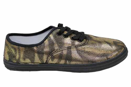 W1539Gol Damen Plimsolls Schuhe Metallic-Look