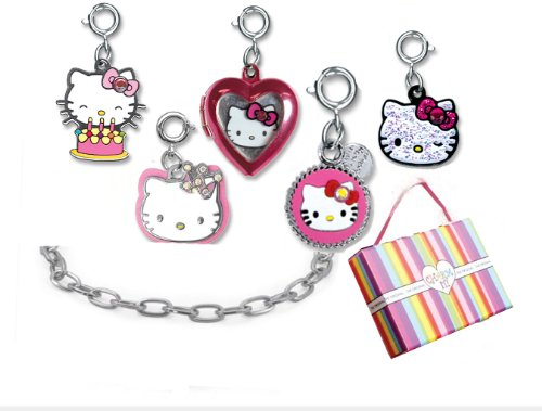 Sanrio Hello Kitty 5 Charm Happy Birthday & Silver Chain Link Bracelet Set