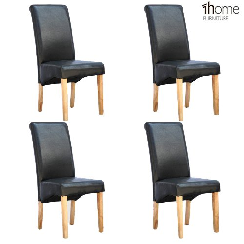 4 X 1home Leather Dining Chair W Oak Finish Wood Legs Roll Top High Back Ma