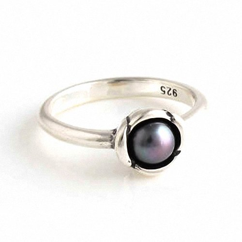 Taotaohas-(1Pc) Oxidized Antique 100% Solid Sterling 925 Silver Ring, [ Name: Cultured Elegance, Uk Size: S 1/2, Us Size 9, Eu Size 58, Pearl Color: Dark Purple ], With Natural Pearl, Fit European Bracelets Necklaces Chains, Troll, Biagi Glass Charm Beads