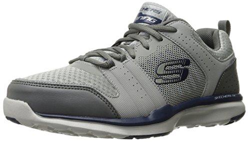 Skechers Sport Men's Quick Shift Tr Oxford Sneaker, Light Gray/Blue, 10.5 M US