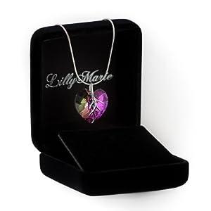 Silberkette mit original Swarovski® Elements Herz Anhänger, mehrfarbig/lila, 18 mm, mit Schmucketui, ideal als Geschenk für Frau oder Freundin