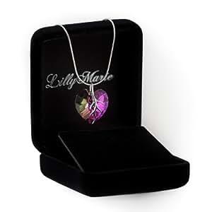 Eine Silberkette aus 925 Silber mit original Swarovski® Elements Herz Anhänger, mehrfarbig/lila, 18 mm, mit Schmucketui, ideal als Geschenk für Frau oder Freundin